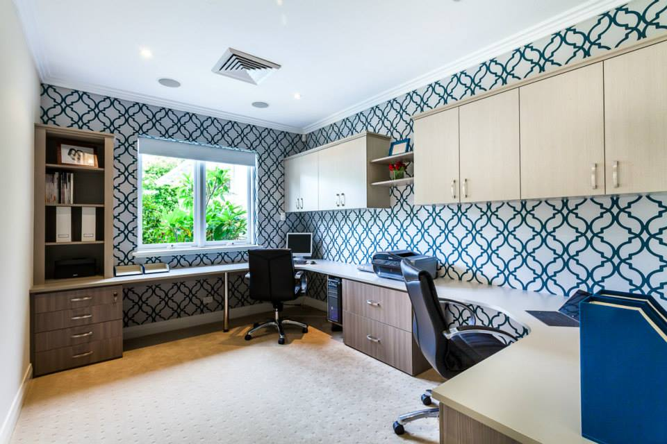Rugs, Carpet, Carpeting Interior Design Ideas. Wallpapered home office with plain carpeting