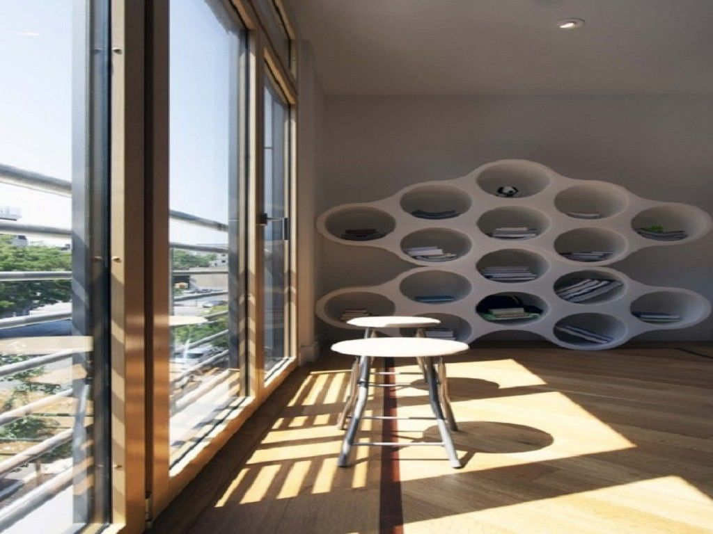 Nice Unusual Bookshelves Interior Decoration. Nice cells of the white innovative book stand