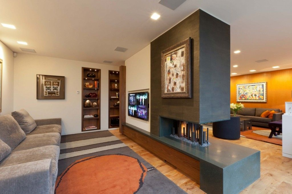 Interior Partitions Room Zoning Design Ideas. Decorative wall with the moden fireplace