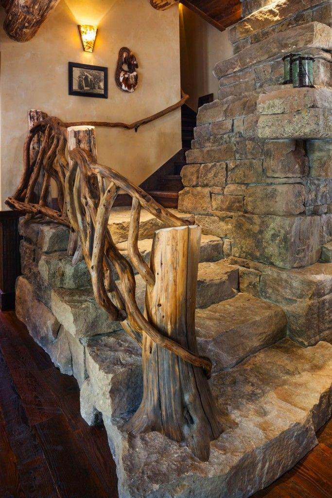 Modern Interior Staircase Materials Photo. Unusual extra rustic and eco design