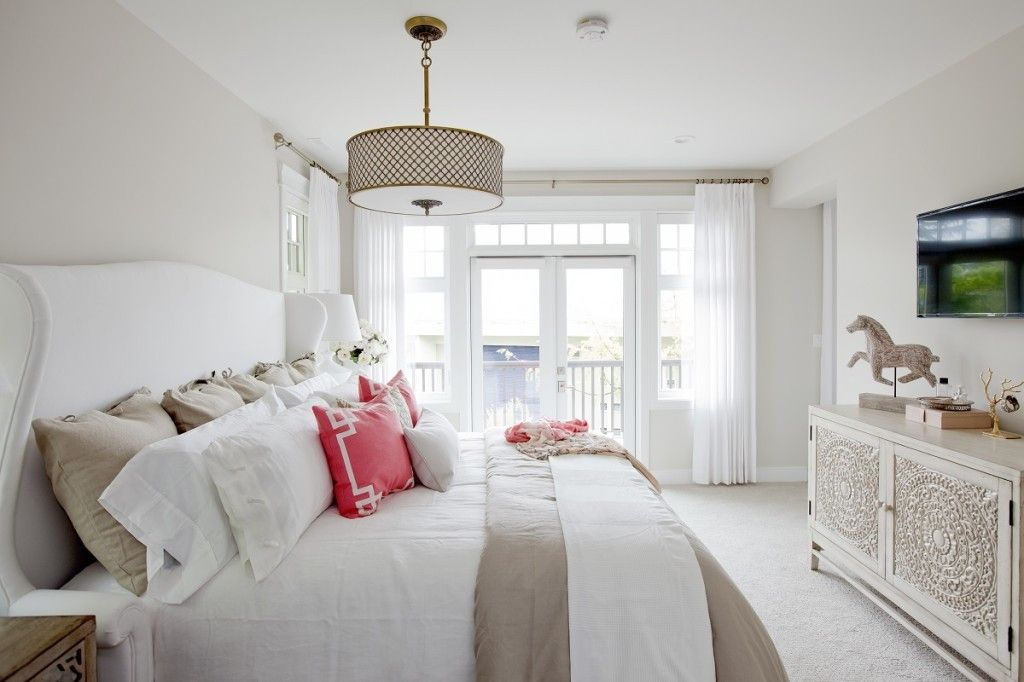 Bedroom Interior Furniture Set Programme Ideas. Well lit white bedroom with loggia and striped matress with the color of luster