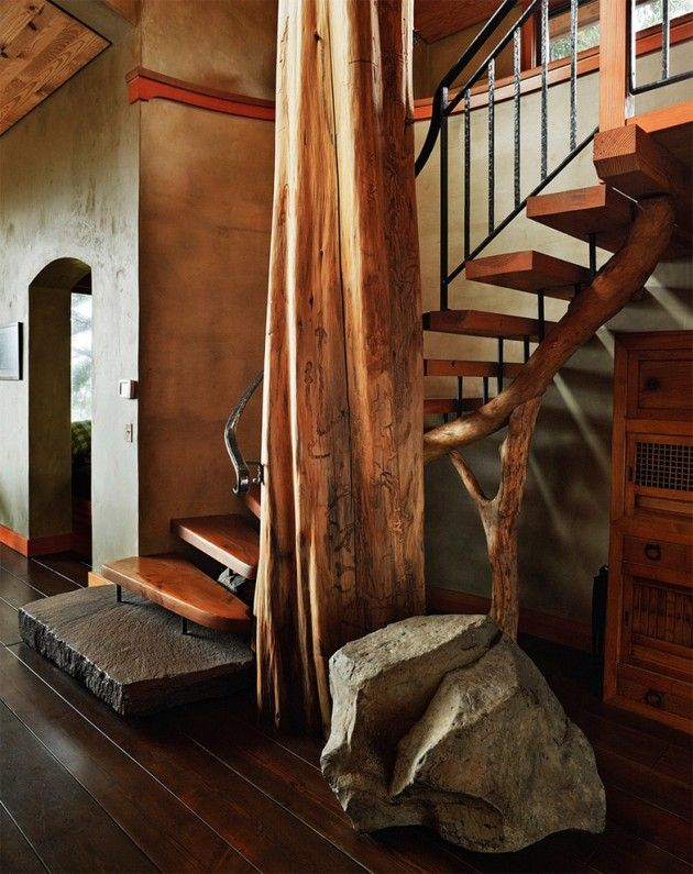 Interior Staircase Original Design Ideas. Wooden rustic hut-styled stairs in the country house