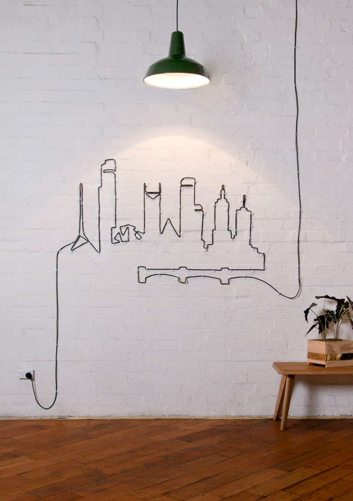 Wires and Cords as Interior Decorating Ideas on the white wall by the black cord