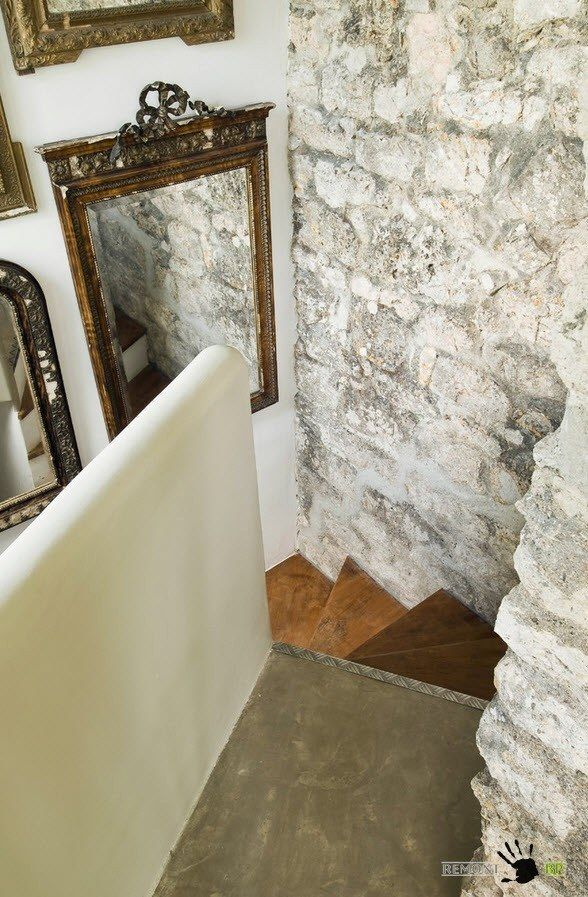 Small Vintage & Provence Old French House Design. Stairs with whitewashed rock stone wall