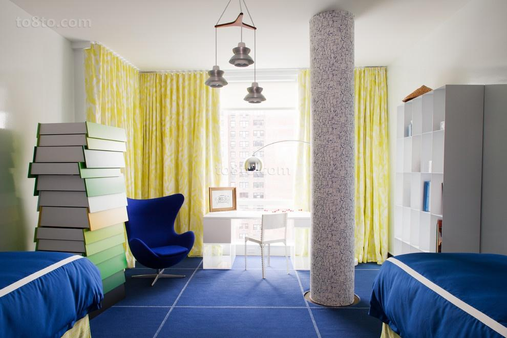 Rugs, Carpet, Carpeting Interior Design Ideas. Soft  atmosphere of the blue themed room is provided by upholstered surfaces and carpeting