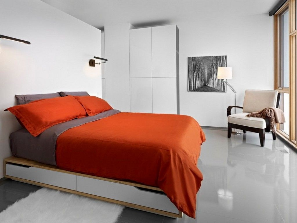 Bedroom Interior Furniture Set Programme Ideas. Orange linen and white wall trimming