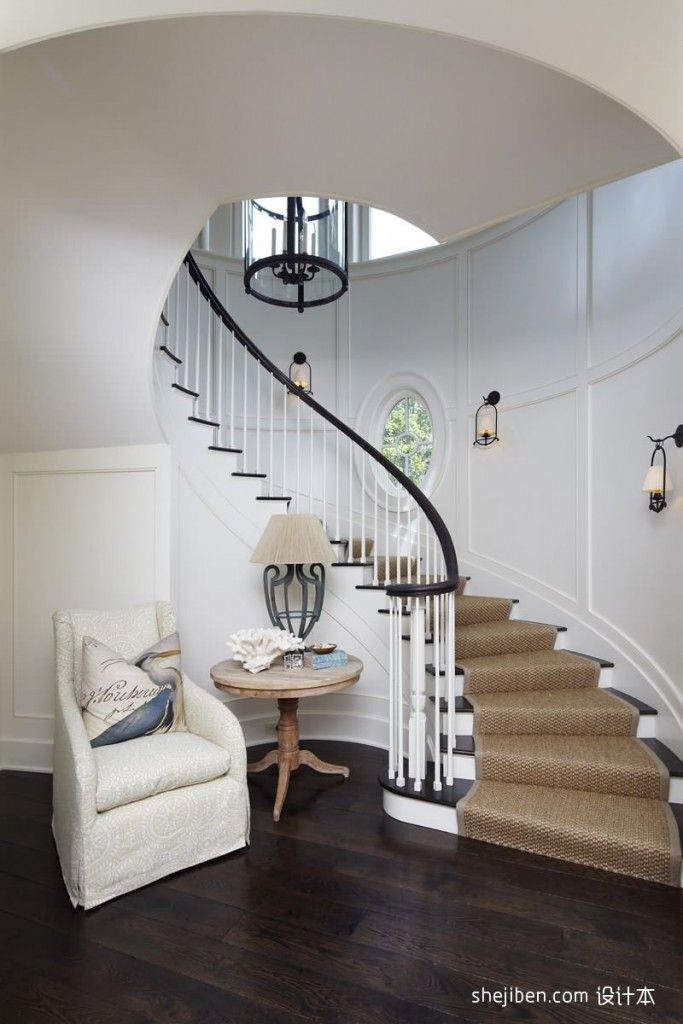 Staircase Modern Constructions Types Design. Cuved stringer of the stairs in the white decorated house