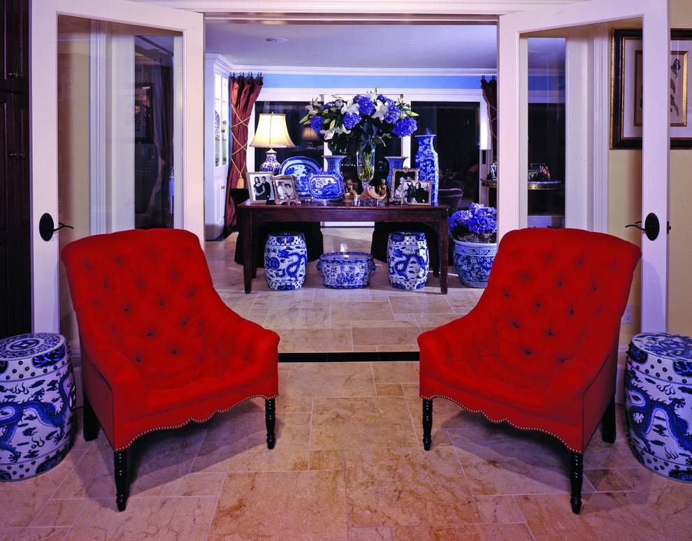 Red Color Interior Design Ideas. Two royal armchairs in red