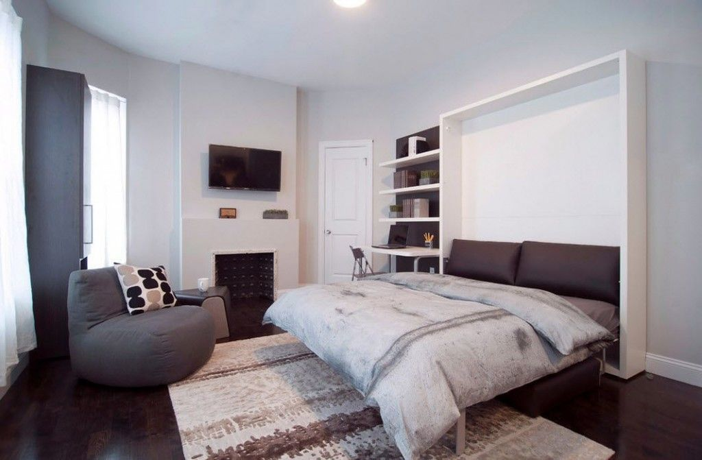 Built-in Bed Small Apartments Interior Design Solution. gray and white color combination