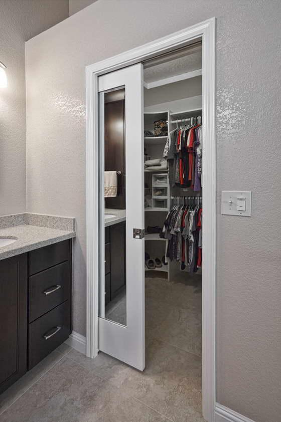sliding doors interior design ideas. Coupe-door to the wardrobe in the bathroom