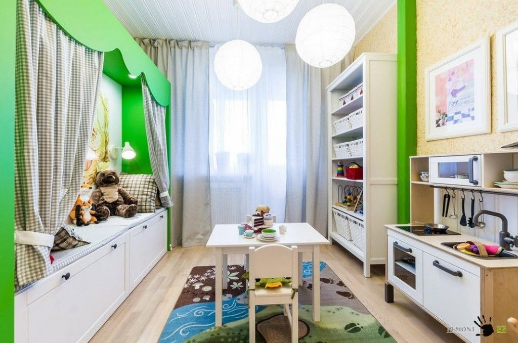 Kids` Room Furniture Selection Advice.  Green freshing accents in the area for one child