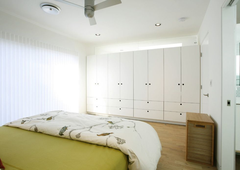 Dream Bedroom Wardrobe Decorating Ideas. Green bed cover and cobinet system in the front