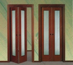 sliding doors interior design ideas. Folding book doors of two flaps for extremely narrow passages
