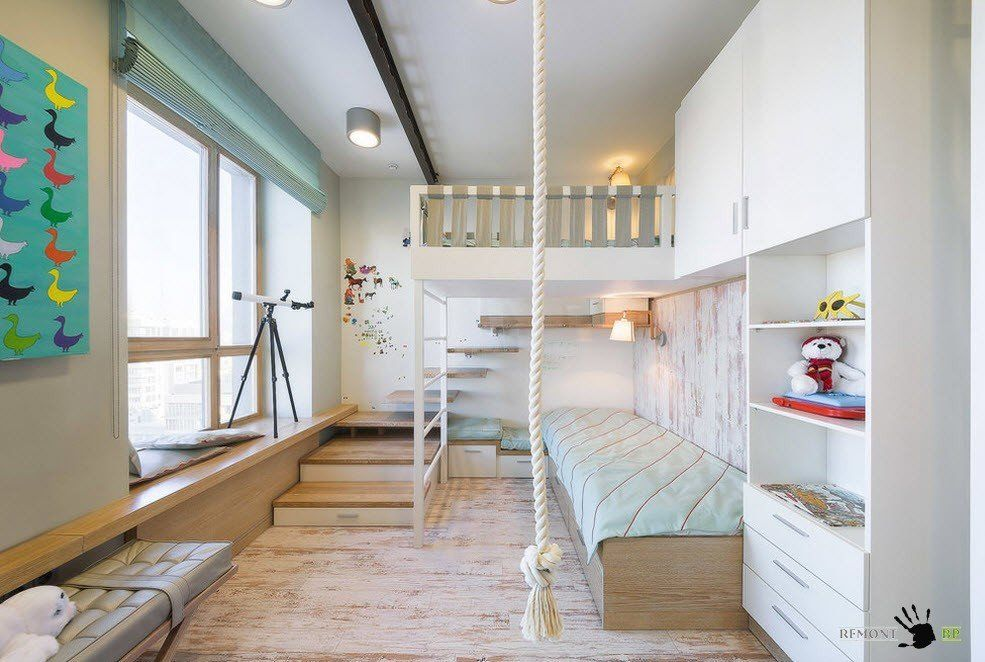 Kids` Room Furniture Selection Advice. Unique design with stairs, multifunctional area and complex light for childres room