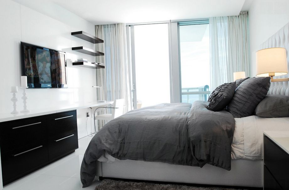 Bedroom Interior Furniture Set Programme Ideas. Hi-tech dark realization with the workplace in the bedroom