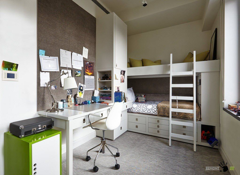 Kids` Room Furniture Selection Advice. Business and sports atmosphere in the room
