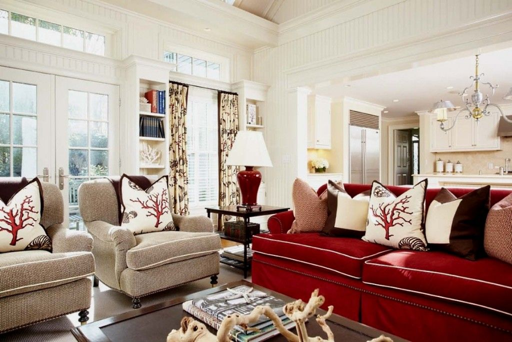 Red Color Interior Design Ideas spacious living room with red couch