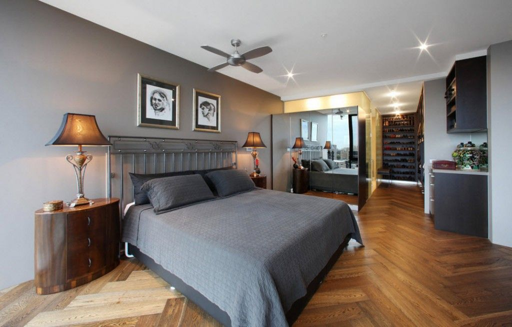 Bedroom Interior Furniture Set Programme Ideas. White ceiling with built-in fixtures and fan, pictures at the hradboard and light laminate on the floor make this atmosphere gorgeous