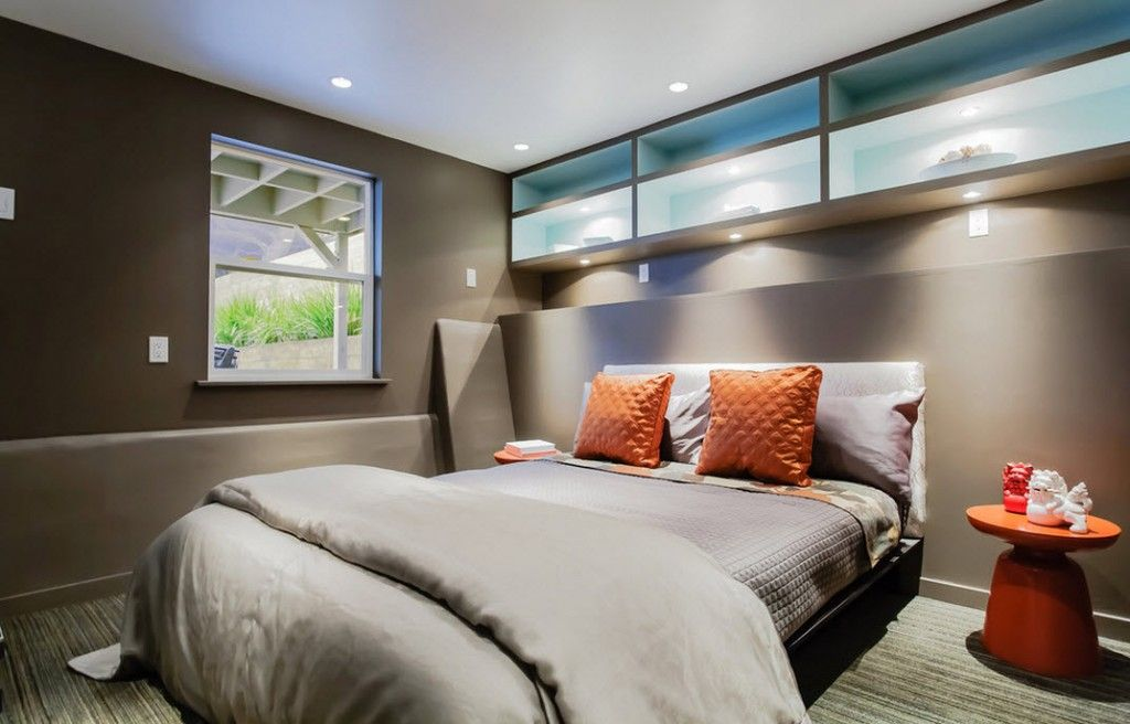 Bedroom Interior Furniture Set Programme Ideas. Glass partitions of the high located wall storage in the gray bedroom