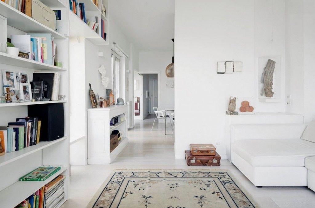 Italian Oceanside House White Modern Interior Design. Studio floor. Perspective to the dining zone