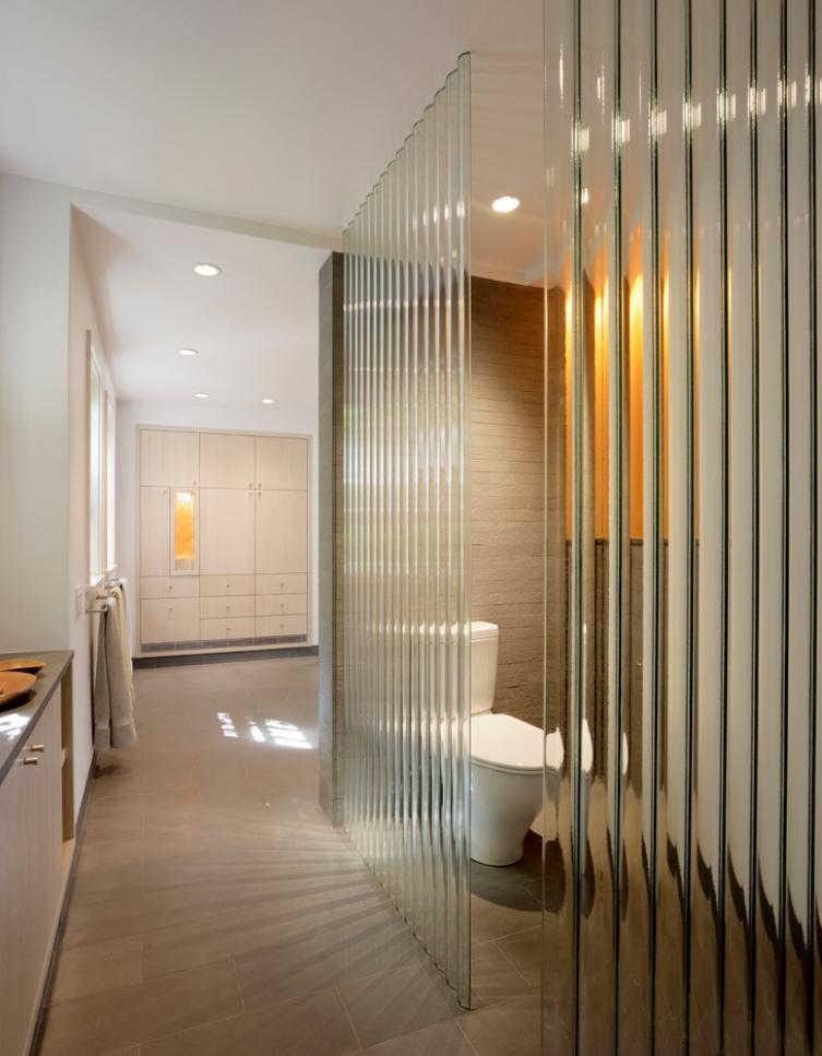 Interior Partitions Room Zoning Design Ideas. Corrugated plastic for bathroom allocation