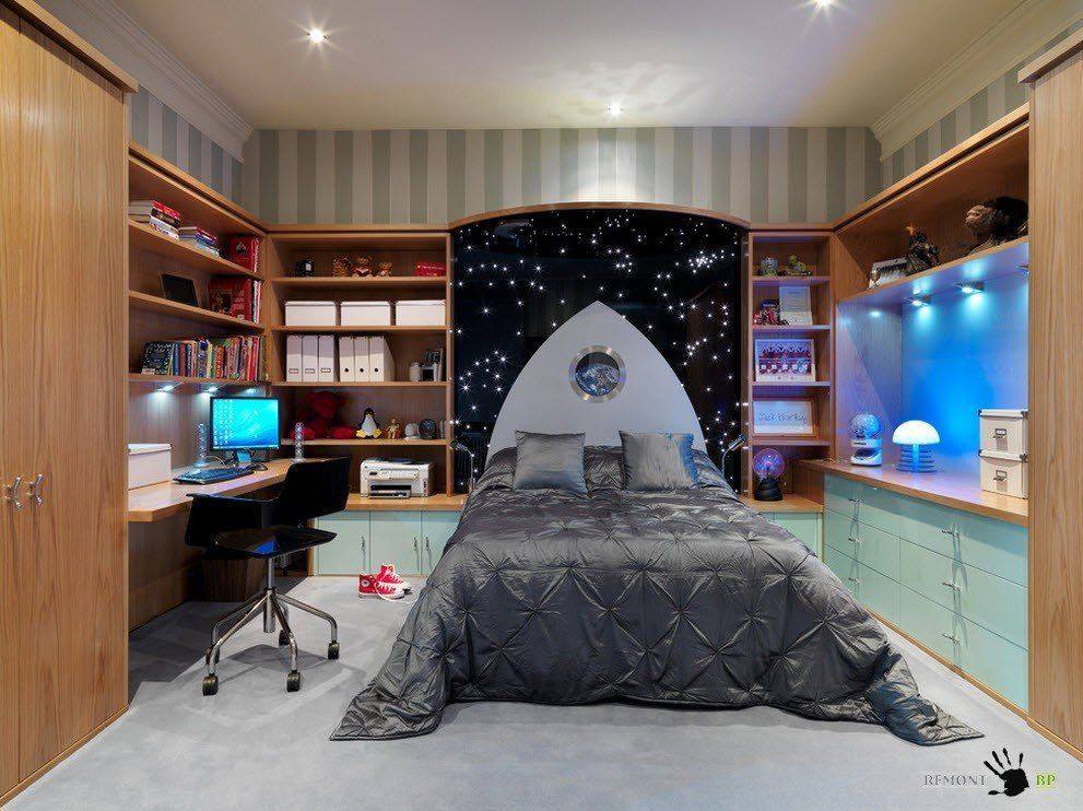 Kids` Room Furniture Selection Advice. Space thematic of the headboard design