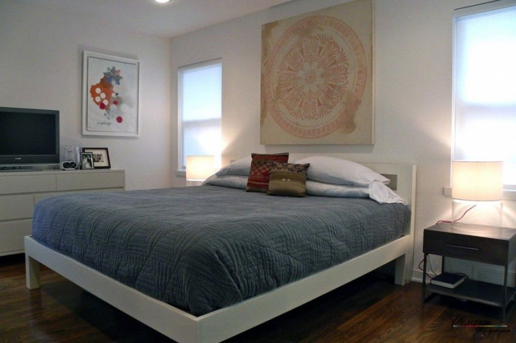 Headboard Wall Bedroom Interior Picture Placement Advice. Unique abstraction in the minimalistic room
