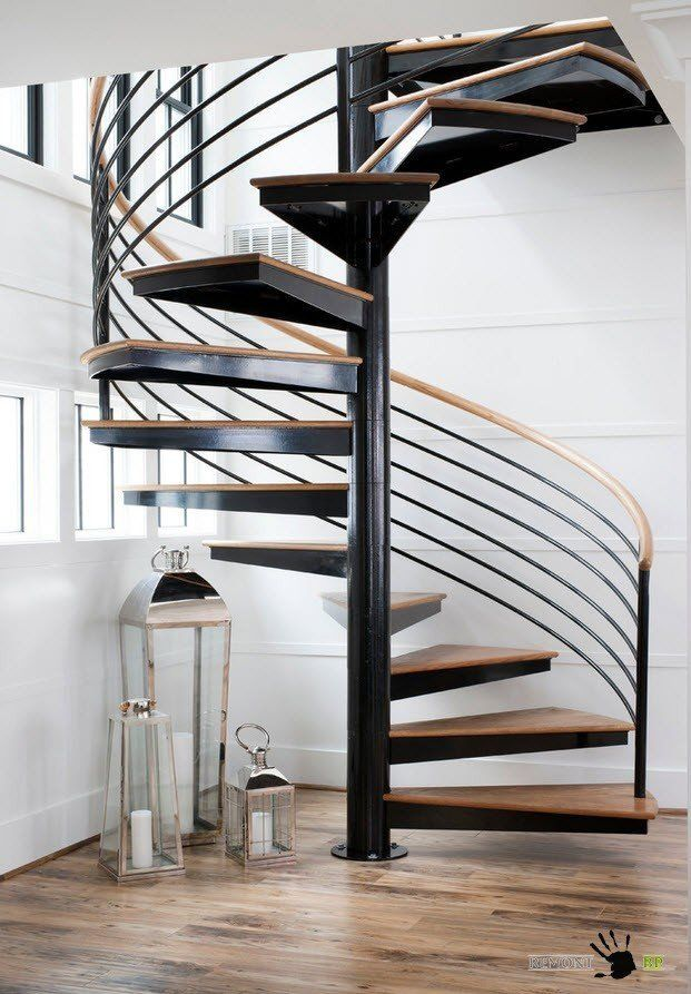 Staircase Modern Constructions Types Design. Wooden and metal spiral stairway