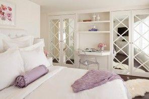 Dream Bedroom Wardrobe Decorating Ideas. Lightwheight minimalistiс women`s boudoir and criss crossed mirror doors of the cabinets