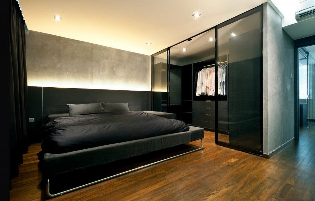 Dream Bedroom Wardrobe Decorating Ideas. Nice black styled bedroom with glass panels separated wardrobe