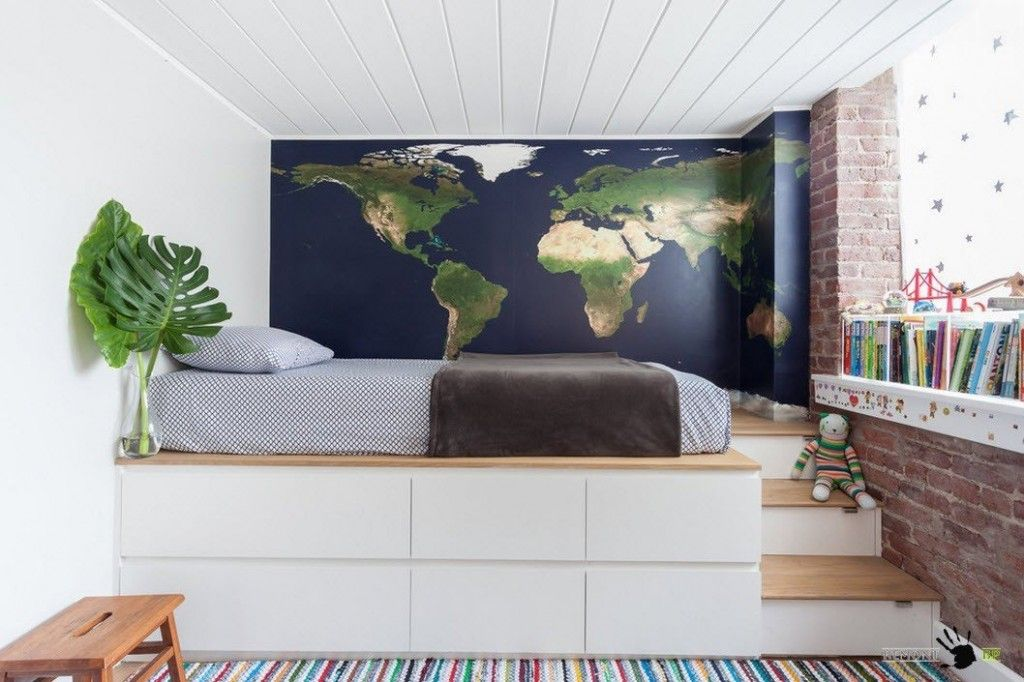 Kids` Room Furniture Selection Advice. Big atlas at the wall