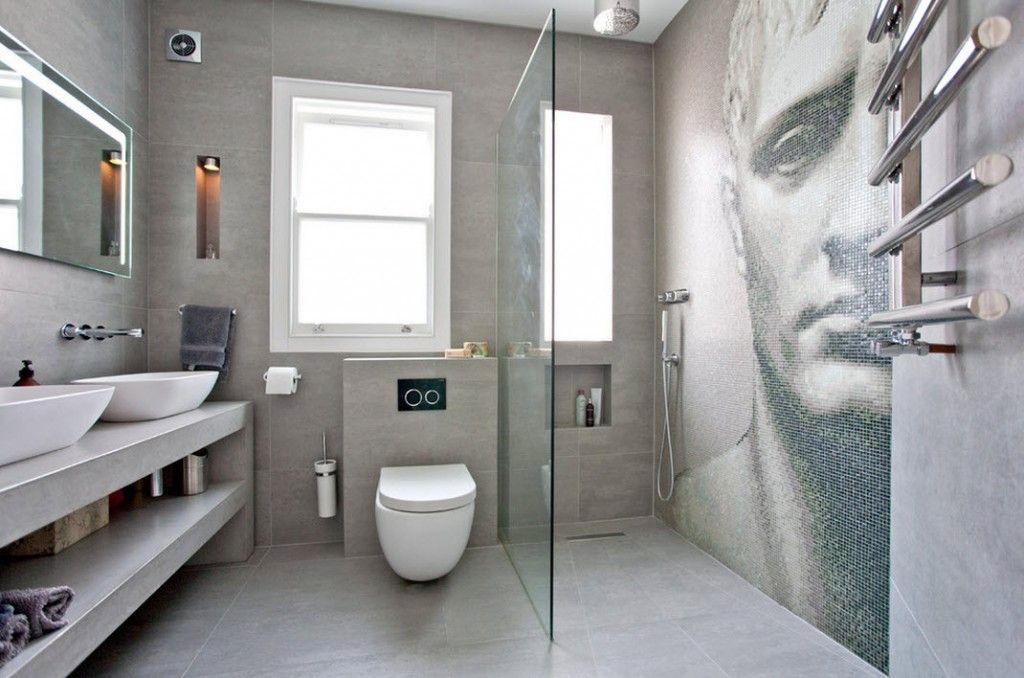 London Bunk Apartment Modern Interior Design Ideas. Hi-tech and minimlistic styles as well as the photo mosaic pattern make the bathroom inimitable