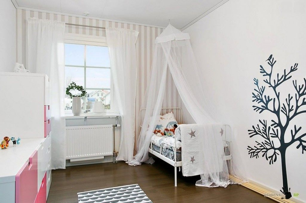 Kids` Room Furniture Selection Advice of unique pattern at the wall