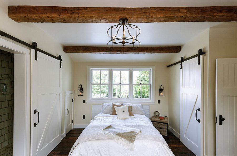 sliding doors interior design ideas. A pair of doors in the rustic styled bedroom
