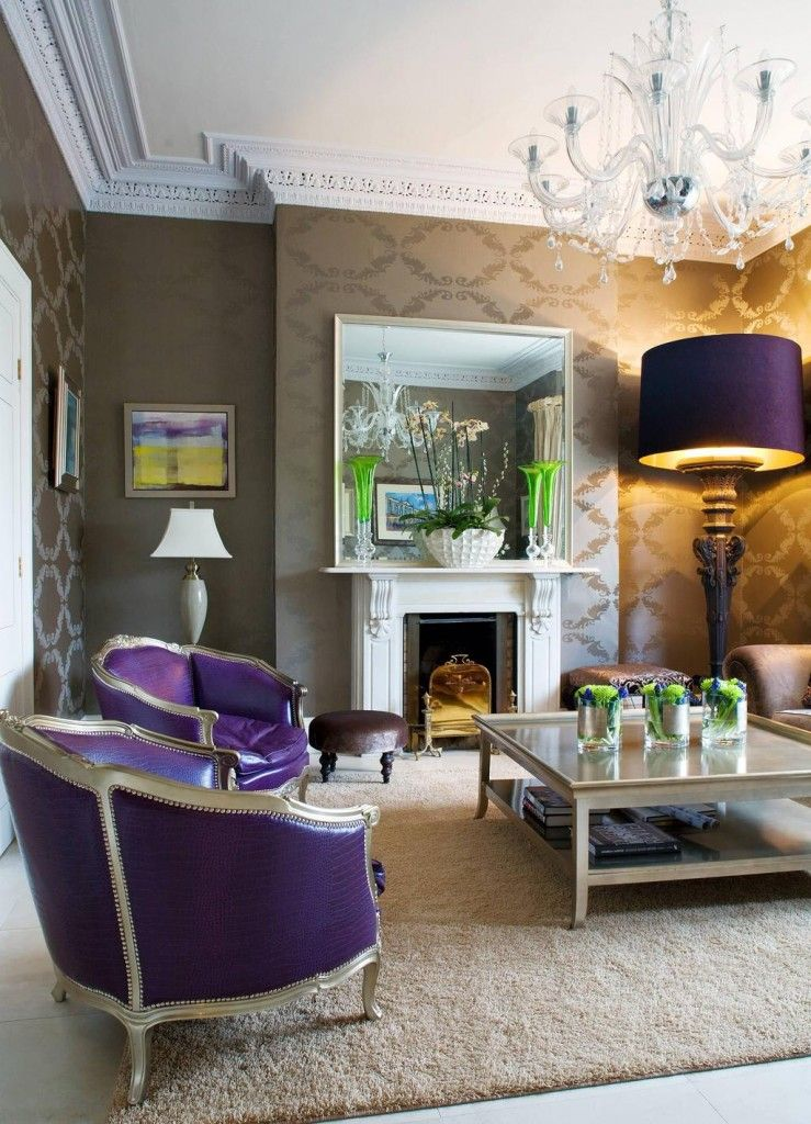 Modern Interior Design Light Fixtures Choice. Ceiling fixtures and a big standing lamp in the overall purple design