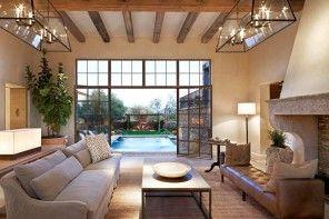 Mediterranean Interior Design Style with wide door passage of the glass cells
