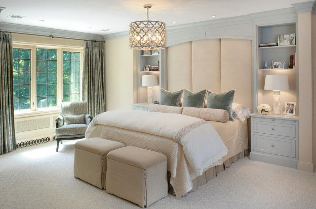 Bedroom Interior Furniture Set Programme Ideas. Two neat ottomans near the classic bed with two bedside tables