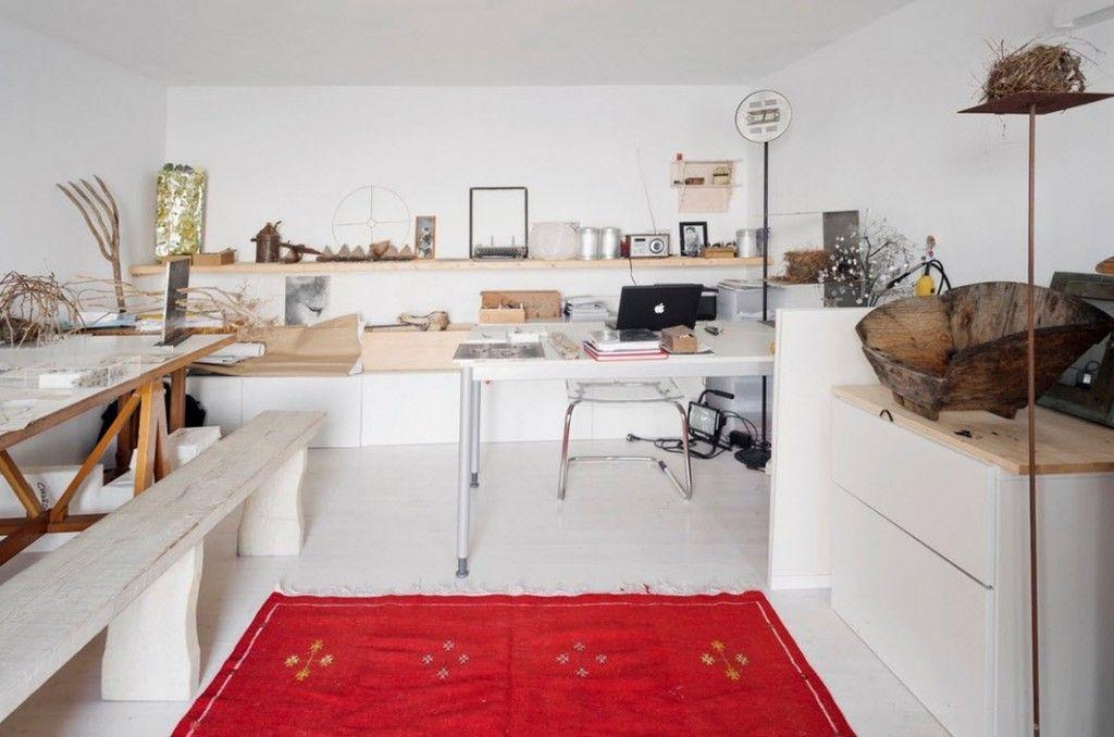 Italian Oceanside House White Modern Interior Design. Creative home office
