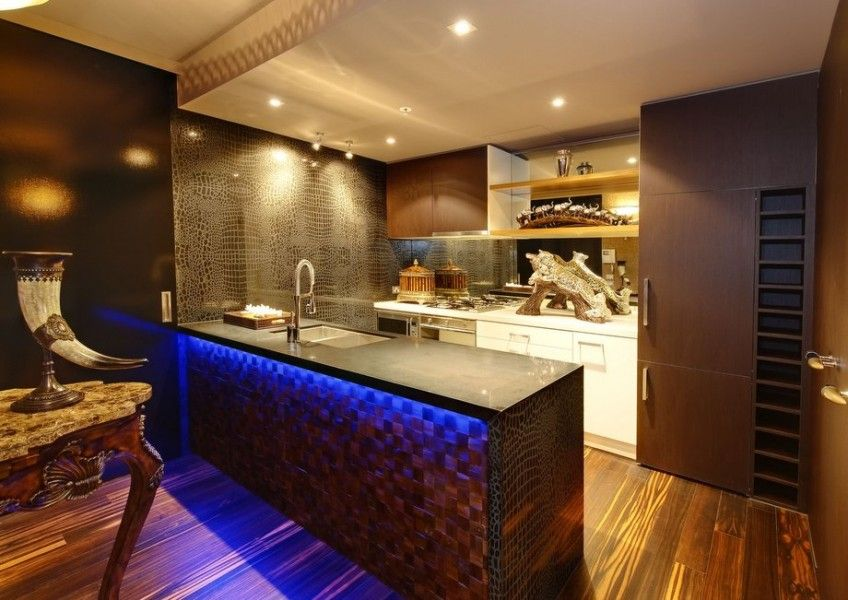 African Interior Design Style. kitchen with island neon backlight