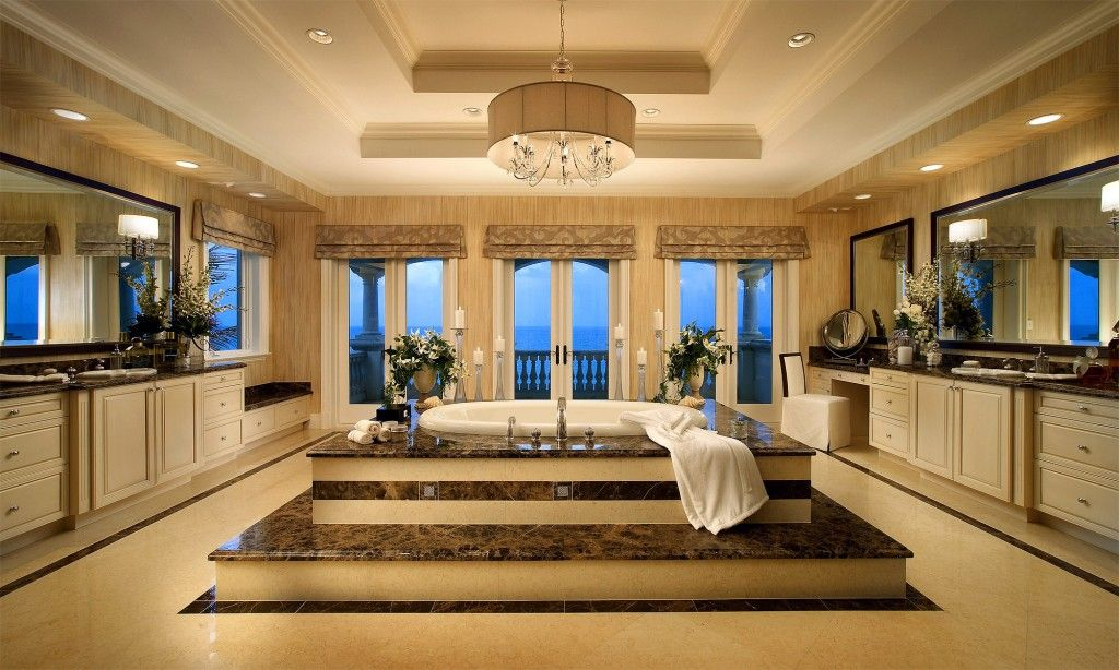 Mediterranean Interior Design Style. Unbelievably chic design in floors levels and expensive dark marble in the spacious bathroom