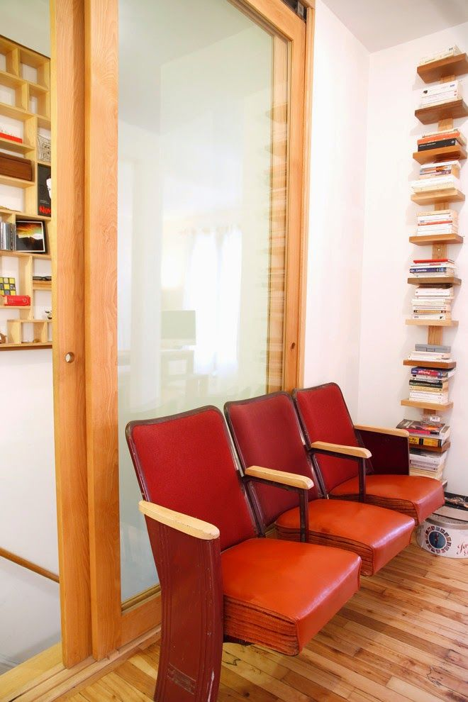 Nice Unusual Bookshelves Interior Decoration. Nice office interior with red chairs