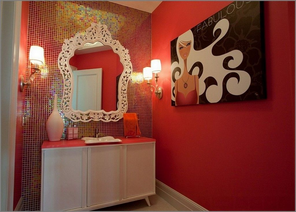 Red Color Interior Design Ideas. Woman`s bathroom decoration