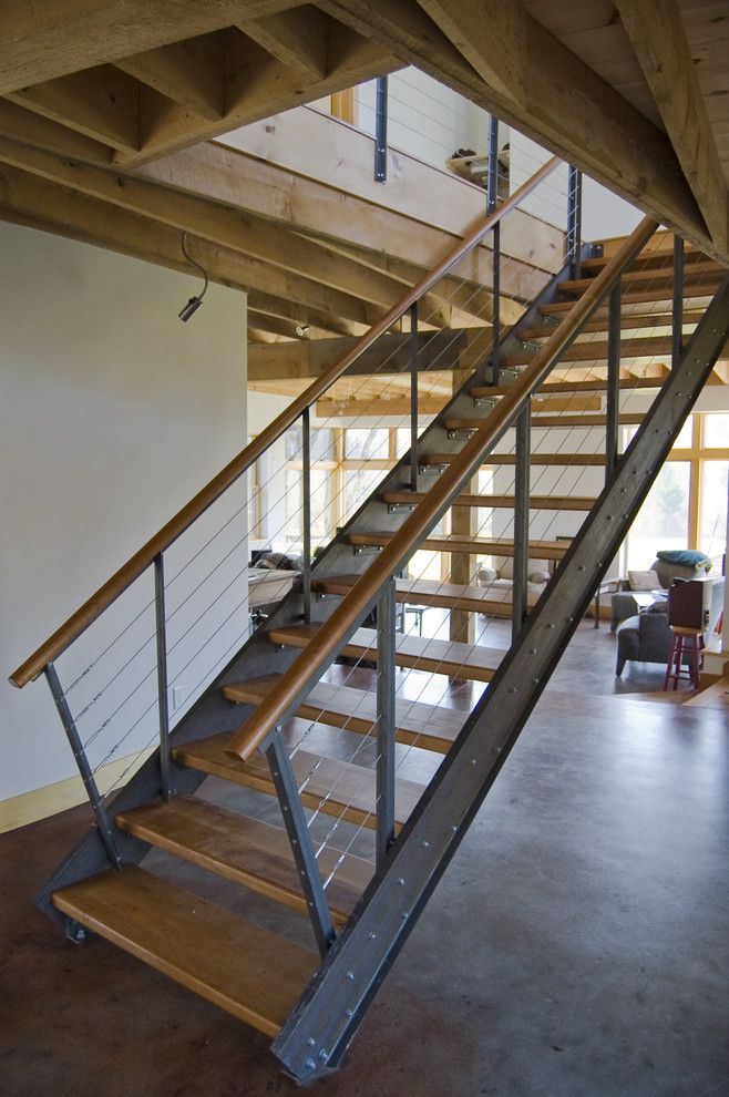 Staircase Modern Constructions Types Design. Modern fresh and safe design for the stairs on rails