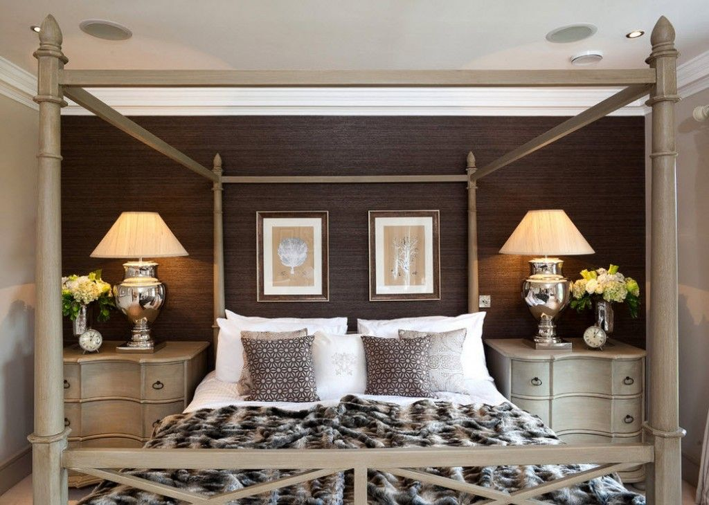 Bedroom Interior Furniture Set Programme Ideas. Bed with wooden frame for the canopy