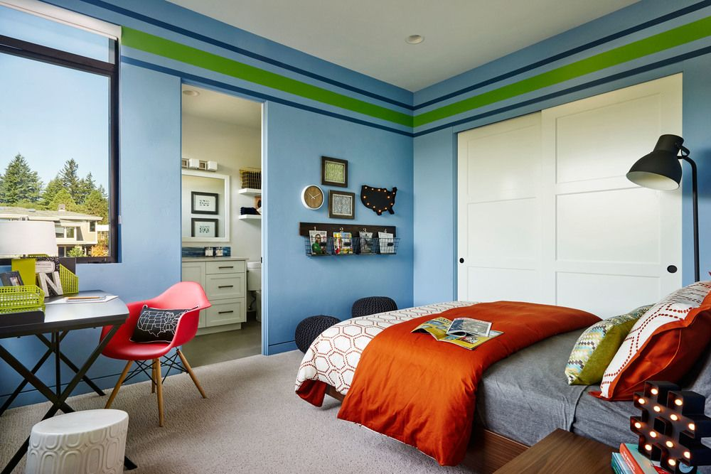 Kids` Room Furniture Selection Advice. Unique wall paint in saturated blue color with stripes of secondary ones