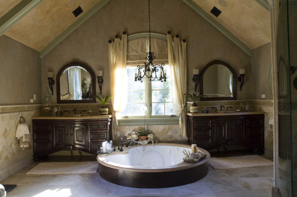 Noble Wooden Arrangement Of The Bathroom Mediterranean Interior Design Style Round Bathtub As A Focus