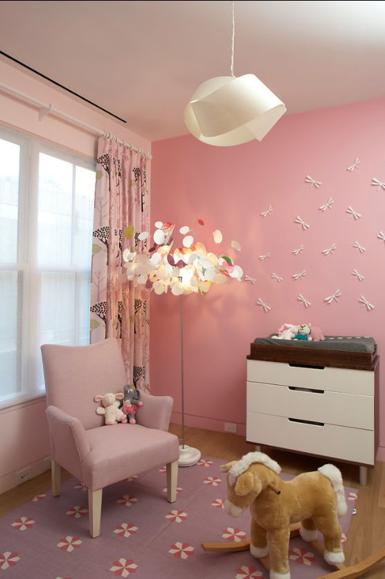 Modern Interior Design Light Fixtures Choice. Original ceiling lamp in the pink girlish ambience
