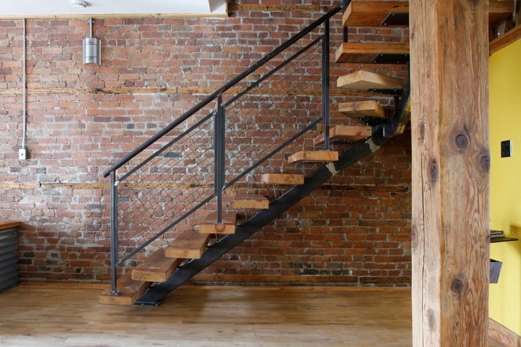 Modern Interior Staircase Materials Photo in the loft styled apartment