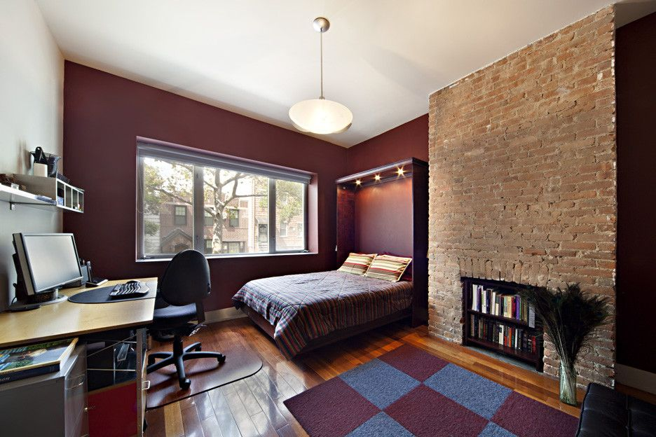 Built-in Bed Small Apartments Interior Design Solution. Brickwork and Dark red tones for the sleeping zone