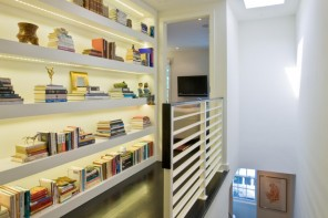 Nice Unusual Bookshelves Interior Decoration. highlighted Shelving near the stairs